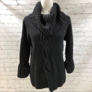 Talbots Black Chunky Cable Knit Sweater Cowl Neck